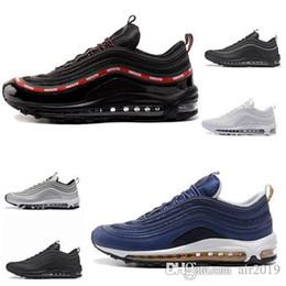 outlet store 969bc 4aa94 Nike air max 97 Nouveau 2019 Air Cushion Hommes Rouge Noir Marron Haute  Qualité Chaussures De Mode Style Taille 36-45