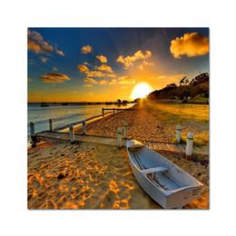 hd boot malerei Rabatt Leinwandmalerei HD Druck Sonnenunter- Poster Fischerboot Sea Beach Fotos von der Landschaft an der Wand skandinavischen Dekor