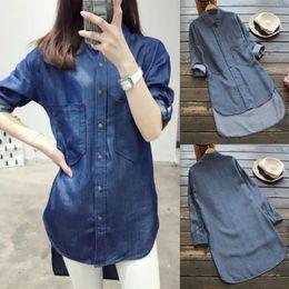 e6ba834a475 New Blue Denim Blouse Shirt Women Jeans Button Pocket Mini Shirt Wrap  Spring Autumn Lady Fashion Casual Shirt Tops Blouse