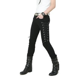 2019 botón negro noche Idopy Fashion Slim Fit Pantalones Steampunk Patchwork negro Elástico con cordones Dance Night Club Gothic Button Jeans Pantalón para hombres rebajas botón negro noche