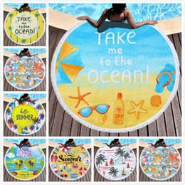 2019 couvrir le yoga 150 * 150cm ronde serviette de plage gland serviette de plage couverture de lit yoga tapis polyester nappe imprimé camping en plein air serviette de pique-nique gland couvrir le yoga pas cher