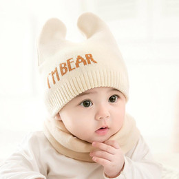 3fff1b74e5fa4 Cute Newborn Baby Beanies Hat Scarves - Bear Knitted Warm Hat Scarf Set -  Infant Cap Protects Ear Baby Winter Caps + Scarf