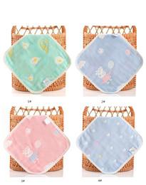 Pur coton carré serviette 25 * 25 six couches de gaze de coton tout coton enfants dessin animé crochet petite serviette maternelle salive serviette en gros ? partir de fabricateur