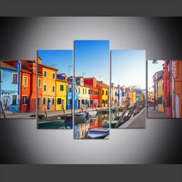 2019 pintura a óleo de arte veneza 5 Peça Grande Tamanho Da Arte Da Parede Da Lona Fotos Criativas Veneza, Itália, Canal, Barco, Rua, Cidade Art Print Pintura A Óleo para Sala de estar Decoração pintura a óleo de arte veneza barato