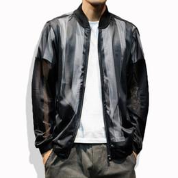 Argentina Hombres ahuecan las chaquetas de malla sexy varsity chaqueta manga larga streetwear tamaño asiático 5XL cremallera hasta hombres ropa negro blanco JK06 cheap varsity jacket black white Suministro