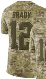 Рубашки для камуфляжа онлайн-Man New England 12 Джерси Мужские рубашки Вышивка для взрослых и 100% сшитый Camo Салют для обслуживания отставного игрока Трикотажные изделия американского футбола