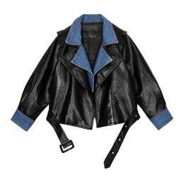 jaqueta de couro feminina roxa Desconto 2019 novo design de moda das mulheres cool turn down collar denim jeans patchwork pu sola de couro casaco curto casacos sml