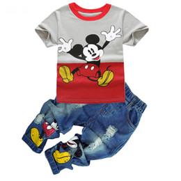 2019 enfants jeans filles ans Vêtements de mode pour garçons Ensemble T-shirt Jean Summer Suit Kids Costume Sport Baby Boys Girl Cartoon Bambin Vêtements Pour 2 3 4 5 6 7 7 Années promotion enfants jeans filles ans