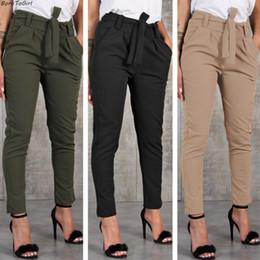Schwarze hose beiläufige frauen chiffon- online-BornToGirl beiläufige dünne Chiffon- dünne Hosen für Frauen-hohe Taillen-Schwarz-kakifarbene grüne Hosen