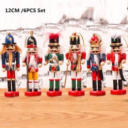 Alberi di Natale Deco Ornamenti Natalizi in Legno 6pcs Schiaccianoci Natale Decorazioni Natalizie Soldatini con Pupazzi 12cm