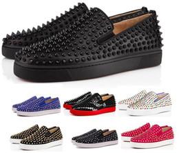 Wholesale Comprar una zapatillas de deporte inferiores rojas Zapatos casuales Hombres Mujeres Bajo Negro Diseñador Picos completos Roller Boat Flats Mocasines de skate Hombre de lujo Hombre Mujer