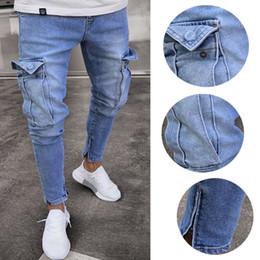 2019 мужская мода джинсы cut Men Fashion Jeans Street Wear Multi Pocket Pancil Pants Straight Cut Denim Trousers with Pocket Fashion Men Jeans Long Pants дешево мужская мода джинсы cut
