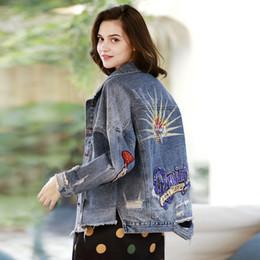 più la giacca ricamata di formato Sconti Moda donna manica lunga giacche paillettes jeans strappati cappotti giacca di jeans ricamati hip hop top soprabito plus size abbigliamento 2019
