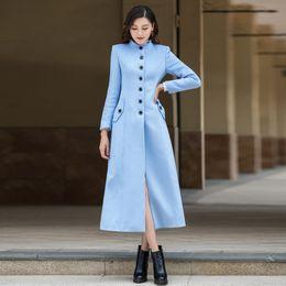 casacos de lã azul claro Desconto Bela Luz Azul Casaco De Lã Moda New England Estilo Gola Único Breasted Magro Longo Outerwear Lã manteau femme