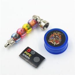Pantallas de molino online-Juego de fumar para amoladora de tubos Tubos para fumar de metal Pantallas para amoladora y tubería de tabaco con paquete al por menor