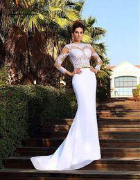 vestidos sem costas sexy Desconto 2019 New white chiffon decalques frisado vestido sexy sereia vestido de manga comprida mulheres pageant sem volta de uma cadeira vestido de noite