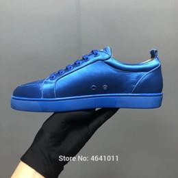 Lace-Up cl andgz trend patent leather red bottoms low-Cut For Men shoes  Blue Velvet Rivet casual shoe couple models Flat Loafers 9e265c4833c0
