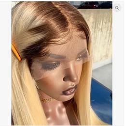 2019 perucas de platina blonde de renda cheia 4 613 Loira Ombre Cor Peruca Dianteira Do Laço Remy Brasileira Peruca Direta Sem Cola Rendas Frente Perucas de Cabelo Humano para As Mulheres