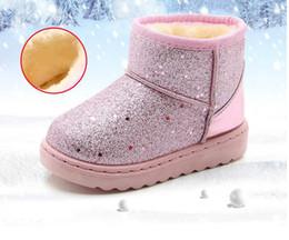 Zapato suave rosa bebé online-Botas de nieve para niñas Botas de invierno de punta redonda plana para niños Zapatos para bebés Rosa Negro Botas suaves para niños Tamaño 25-36
