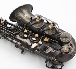 Canada Main Sculpté Fleurs Nickel Noir Plaqué Saxophone Alto Laiton Instruments De Musique Eb Tune Sax Avec Gants Etui Et Embouchure cheap e instruments Offre