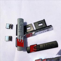 marcadores 3d Rebajas línea 3D S sLine parrilla deportiva insignia del emblema del cuerpo Calcomanías para A3 A4 B6 B7 B8 B5 lateral Fender marcador coche accesorio externo