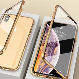 2019 capas iphone dobro claro Luxo frente e verso frente + de vidro claro de metal caixa magnética para iphone 7 8 plus iphone x xr xs max phone case 360 tampa coque capas iphone dobro claro barato