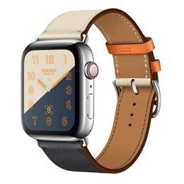 cuero de reloj de manzana Rebajas Loop de cuero para Apple Watch Band 42 mm Serie 1 2 3 4 para iwatch 44 mm correa 38 mm pulsera Reemplazo 40 mm