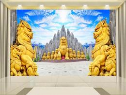 Murais de pedra on-line-Tamanho personalizado 3d foto papel de parede sala de estar quarto cama mural céu azul pedra da floresta leão 3d imagem sofá tv pano de fundo papel de parede não-tecido adesivo