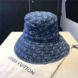 Frauen denim hüte online-2019 Der Neue Stil Denim fabricColor Bucket Hat Fisherman Hat outdoor reisen Sun Cap Hüte für Frauen