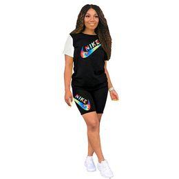 Body sport en Ligne-Femmes designer été 2 pièces ensemble marque survêtement sportswear survêtement gym t-shirt shorts costume de sport leggings tenues tshirt body 896