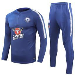 tuta sportiva Sconti 2018-19 Eden Hazard Jorginho N'Golo Kante Fotball Tuta da allenamento Blue army soccer Tuta manica corta 3/4 pantaloni