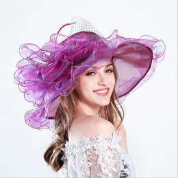Tela floral on-line-Novas mulheres rendas praia sun screen chapéu de sol chapéu feminino Top Fedoras Chapéus Wide Brim Floral verão destacável floral viseira de malha chapéus