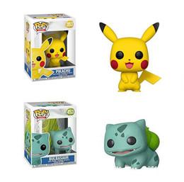 funko pops poupées Promotion Funko POP Pikachu Bulbasaur jouets Funko POP Anime Cartoon Pikachu PVC poupées animaux de la bande dessinée jouets Articles d'ameublement meilleurs Cadeaux B