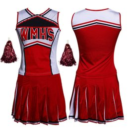 2019 trajes cheerleading Mulheres Sexy High School Glee Cheerleader Costume Set Cheer Meninas Uniforme Cheerleading Outfit Top + Saia + Pompom trajes cheerleading barato