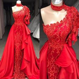 Vestidos cortos de un hombro rojo online-Mermaid Red One Hombro Short Sleeevs Vestidos de baile Apliques de encaje con falda desmontable Vestidos largos de noche