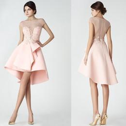 vestido de baile de manga curta de tule rosa Desconto Doce luz rosa mangas curtas vestidos de coquetel 2020 tripulação pescoço tule alta baixa ilusão sexy festa de formatura desgaste vestido de baile