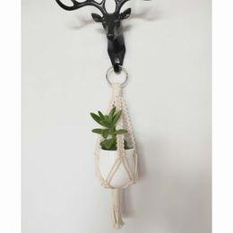 Mini Macrame Rearview Charm Ciondolo regalo intrecciato a mano con corda in cotone da collana tailandese fornitori