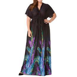 Más el tamaño de la moda étnica online-Moda mujer Sexy Plus Size Floral impresión vestido de manga corta con cuello en v sin espalda floral estilo étnico vestido de playa de verano