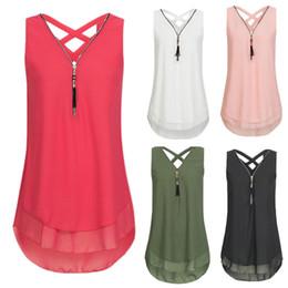 5xl camisetas sin mangas online-Camiseta sin mangas de verano sin mangas blanco verde rosa con cremallera camiseta Tamaño 5XL Verano con cuello en v maduro tops femeninos