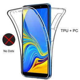 celular bling atacado Desconto 360 cobertura completa silicone phone case para samsung galaxy a7 2018 s8 s9 s10 mais a50 a30 s10e m10 m20 transparente tpu pc case