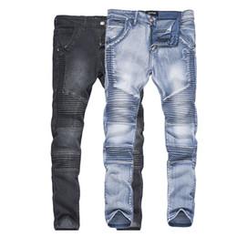 Vend des jeans déchirés en Ligne-MoneRffi Mens Bikers Jeans Déchiré Mode Homme Moto Slim Fit Moto Pantalon En Jean 2018 Décontracté Détruit Effiloché Vente Chaude Pantalon