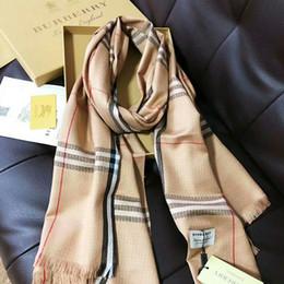Pashmina satin schals online-Hot Silk Schal Pashmina für Frauen und Männer Marke Voll Schals Mode Frauen imitierenburberry Silk langer Schal-Verpackung 180x90cm freies Verschiffen