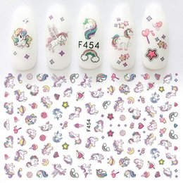 Cruz de lavanda online-1 hoja Nail Art Sticker Adhesivo Unicornio Lavender Flower Pony Cross 3d Manicure Decoración Wraps Nails Tips Decal Nuevo diseño