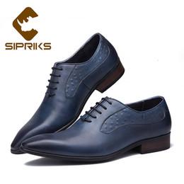 Sipriks Herren Blau Smoking Schuh echtes Leder Kleid Oxfords British Style Formal Herren Anzug Social Business Office Schuhe Schwarz
