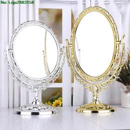 подставка для косметики Скидка 2 стороны зеркало для макияжа стенд стол косметическое зеркало пластиковые комод зеркала инструменты