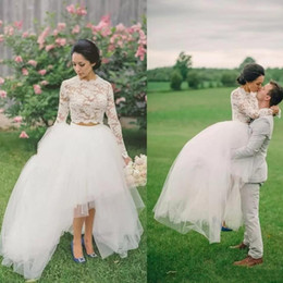 06a50b8545 Modest High-Low Two Pieces Wedding Dresses With Long Sleeves Bohemian Tulle  Bridal Gowns 2019 Country Wedding Gowns Custom Made two piece wedding dress  ...