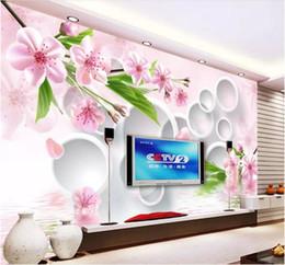 2019 décor de reflets 3d papier peint personnalisé photo murale sur le mur rouge prune réflexion TV fond mur Home Decor salon chambre papier peint pour les murs 3 d décor de reflets pas cher