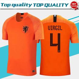 Camisa de futebol laranja on-line-Camisa De Futebol Laranja Em Casa De 2018 Holanda # 21 DE JON # 10 MEMPHIS # 4 VIRGIL Uniforme De Futebol 2019 Nederland # 3 DE LIGT Camisas De Futebol
