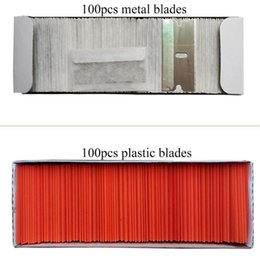 safety knives Promo Codes - 100pcs Metal Plastic Blades Safety Razor Scraper Glue Knife Glass Cleaner Replacement Carbon Steel Blade Floor Cleaning Tool E13