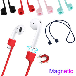 transparent cables Coupons - Magnetic Earphone Strap AirPods i12TWS Anti Lost Strap Magnet String Rope Air Pod Bluetooth Earphones Silicone Cable Cord Airpod Accessories